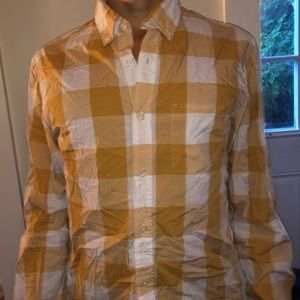 J Crew white and gold checkered button down. M